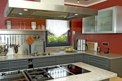 Eine schöne neue Küche in einer schönen Farbe